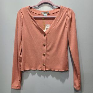 Good Luck Gem NWT Long Sleeve Cropped Top P023